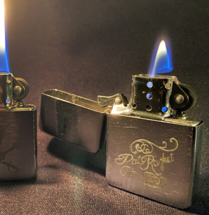 Burning zip-type lighters with different designs