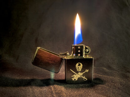 Zip-type lighter with our Jolly Roger design